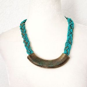 Boho Turquoise Beaded Metal Statement Necklace
